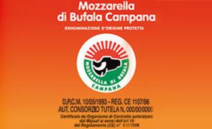 Etikett eines Original Mozzarellakaeses